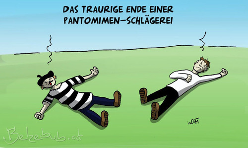 Cartoon: Pantomimenschlägerei (medium) by Belzebub tagged pantomime,pantomimen,schlägerei,mime,mimes,beatdown