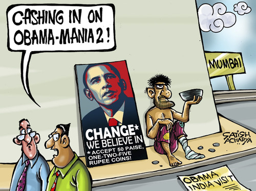 Cartoon: Will Obama bring CHANGE to India (medium) by Satish Acharya tagged obama,india,visit,change,usa