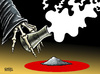 Cartoon: Japan faces nuclear disaster (small) by Satish Acharya tagged japan,nuclear,tsunami,earthquake,radiation