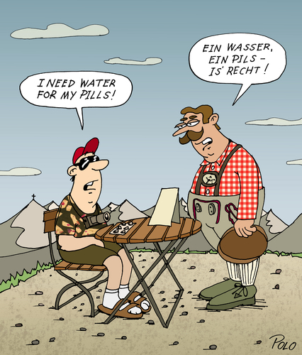 Cartoon: Water for my pills (medium) by POLO tagged bier,wasser,medizin,pillen,bier,wasser,medizin,pillen