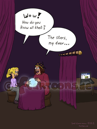 Cartoon: fortune teller (medium) by fcartoons tagged soothsayer,fortune,teller,augur,facebook,girl,teenager,blond,happy,curtain,dark,laptop,netbook,macbook,sphere,woman,scary,mädchen,funny,cartoon