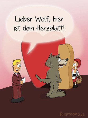 Cartoon: Herzblatt (medium) by fcartoons tagged wolve,hood,riding,red,little,pink,rosa,show,moderator,wolf,rotkäppchen,herzblatt