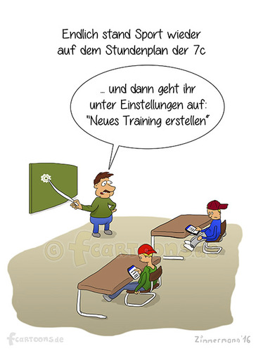 Cartoon: Sport (medium) by fcartoons tagged cellphone,education,facebook,pupils,school,sports,student,teacher,7c,app,cartoon,handy,klasse,lehrer,schule,schüler,smartphone,sport,unterricht
