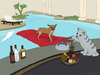 Cartoon: Alzira (small) by Frank Zimmermann tagged alzira,dog,pool,hund,matratze,cat,katze,swimmingpool,diener,flasche,whisky,hotel,cartoon,fcartoons