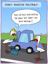 Cartoon: ROADSIDE ASSISTANCE (small) by fcartoons tagged roadside assistance stork car steam street