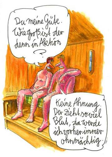 Cartoon: Ohnmacht (medium) by OL tagged sauna,blut,ohnmacht