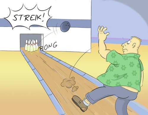 Cartoon: Arbeitsverweigerung (medium) by Rob tagged bowling,kegeln,pin,pins,kegel,fat,fett,mann,man