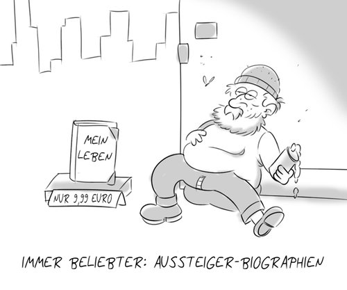 Cartoon: Büchermarkt (medium) by Rob tagged bum,penner,city,stadt,book,books,buch,bücher,obdachloser