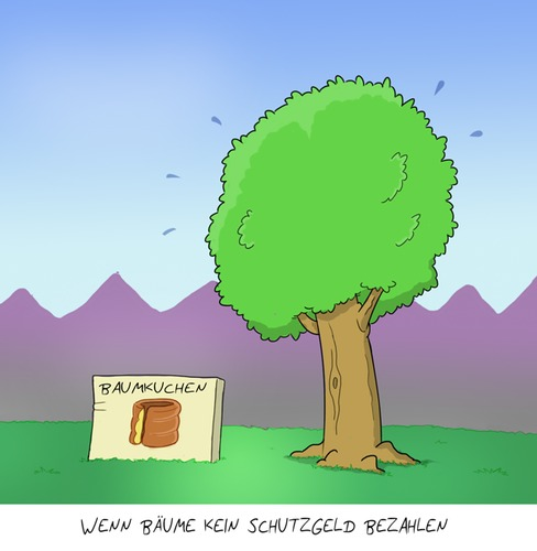 Cartoon: Eindeutige Botschaft (medium) by Rob tagged tree,baum,paket,package,wiese,baumkuchen,pyramide,cake,mafia