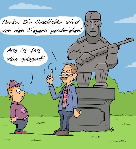 Cartoon: Geschichte (medium) by Rob tagged geschichte,history,statue,monument,krieg,war,fake,news,lie,lüge,soldat,soldier