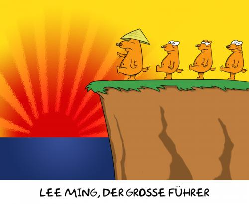 Cartoon: The Great Leader (medium) by Rob tagged lemming,cliff,sunset,lee,ming,chinese,japanese