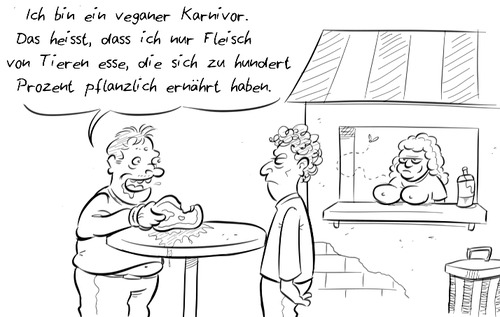 Cartoon: Veganivor (medium) by Rob tagged vegan,karnivor,fleisch,vegetarisch,vegetarier,veganer,fleischesser,imbiss