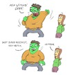 Cartoon: Der unglaubliche Hulk (small) by Rob tagged hulk,incredible,shirt,pullover,hemd,woman,frau,laden,shop,bekleidung,monster