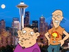 Cartoon: In Erwartung eines Anschlags? (small) by Rob tagged terror,seattle,anschag,space,needle