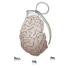 Cartoon: The Mightiest Weapon. (small) by foreigneye tagged weapon,war,grenade,brain,pin,peace