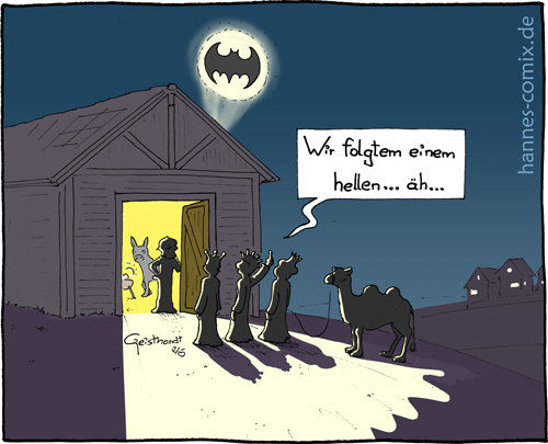 Cartoon: Batman (medium) by Hannes tagged weihnachten,stern,bethlehem,batman,könige