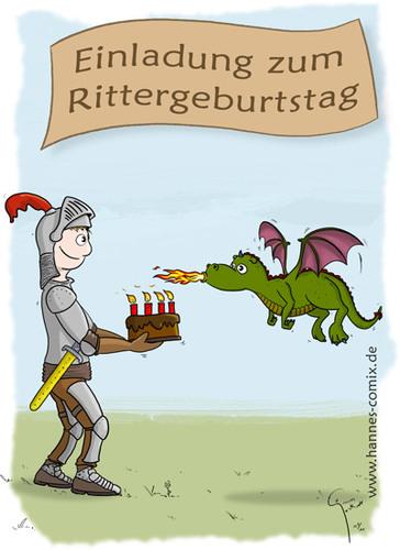 Cartoon: Rittergeburtstag (medium) By Hannes Tagged Ritter,geburtstag, Kindergeburtstag,kuchen