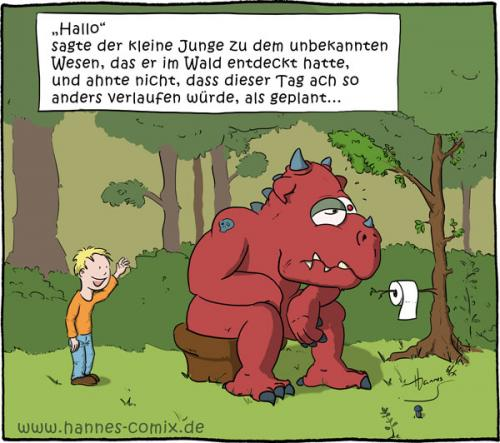 Cartoon: Überraschung (medium) by Hannes tagged kind,wald,monster,kacken,klo