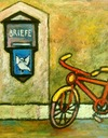 Cartoon: you got mail ! (small) by iris lydia tagged mail letterbox bicycle velo fahrrad brief post liebe love loveletter