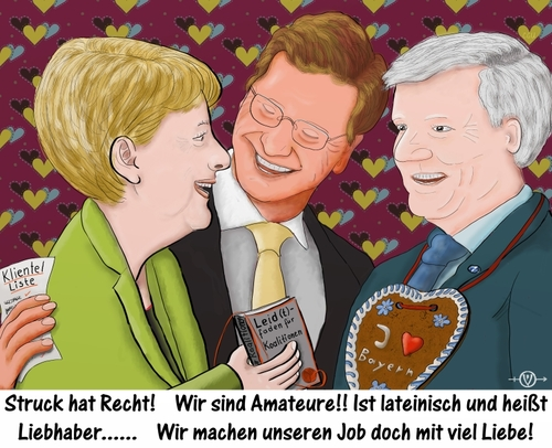 Cartoon: Amateure (medium) by PuzzleVisions tagged amateur,aussenminister,klientelpolitik,merkel,politik,seehofer,struck,westerwelle,german,politics