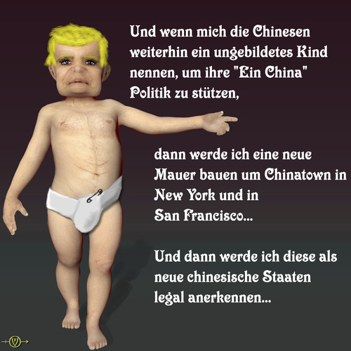 Cartoon: China Trump (medium) by PuzzleVisions tagged puzzlevisions,trump,china,ignorant,child,diplomatic,chinatown,new,york,san,francisco,mauer,wall