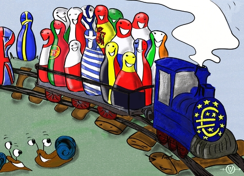 Cartoon: Euro Chance (medium) by PuzzleVisions tagged euro,krise,crisis,schulden,debths,chance,zug,train,währung,currency,fiscaleinheit,fiscal,union,europa,europe