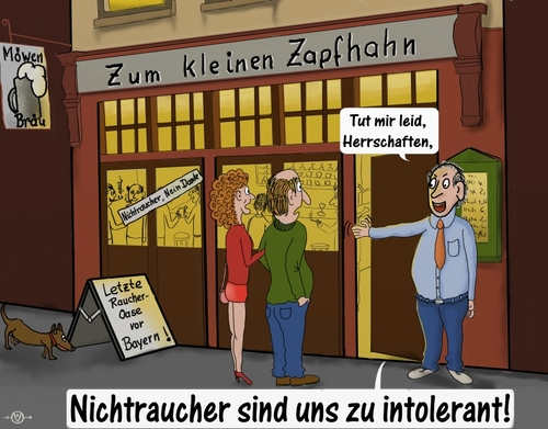 Cartoon: intolerant (medium) by PuzzleVisions tagged bayern,bier,kneipe,nichtraucher,raucher,intolerant,bavaria,beer,nonsmoking,pub,smoking