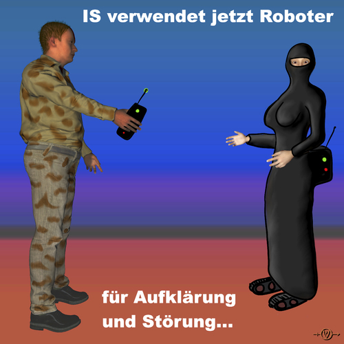 Cartoon: IS Roboter (medium) by PuzzleVisions tagged puzzlevisions,is,robots,roboter,islamischer,staat,kampf,fighting