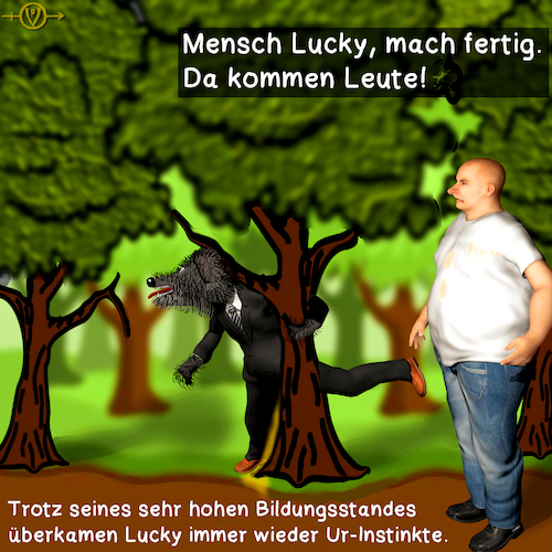 Cartoon: Karli und Lucky 3 (medium) by PuzzleVisions tagged puzzlevisions,urinstinkte,ur,instinkte,instincts,karli,lucky,pinkeln,pee,wald,wood,baum,tree