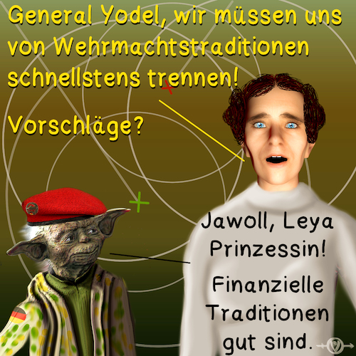 Cartoon: von der Leyen hat Probleme (medium) by PuzzleVisions tagged puzzlevisions,bundeswehr,armed,forces,germany,von,der,leyen,yoda,traditionen,traditions,prinzessin,princess,leia