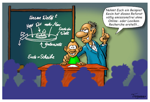 Cartoon: Kevins Welt (medium) by Troganer tagged schule,unterricht,referat,recherche,energeieverbrauch,emission