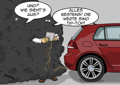 Cartoon: Vermessen (medium) by pierre-cda tagged abgaswerte,auto,skandal,betrug,abgas,volkswagen,vw