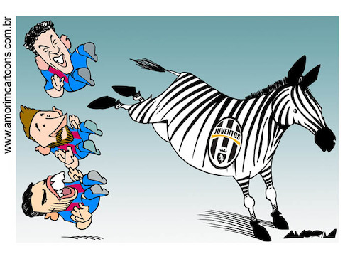 Cartoon: Champions League (medium) by Amorim tagged juventus,barcelona