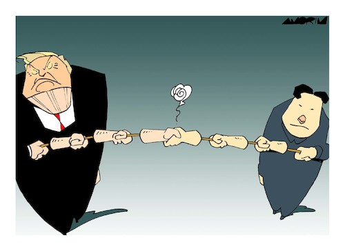 Cartoon: Shaking hands... (medium) by Amorim tagged trump,kim,jongun,singapore,summit,nuclear,weapons