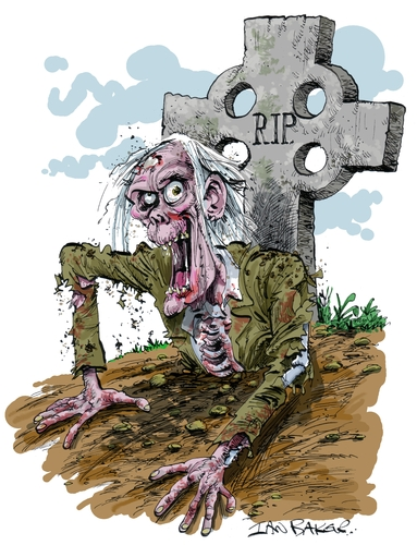 Cartoon: Kate Beaumonts Zombie (medium) by Ian Baker tagged zombie,horror,living,dead,scary,halloween,grave,skeleton