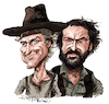 Cartoon: Terence Hill and Bud Spencer (small) by Ian Baker tagged terence,hill,bud,spencer,cowboy,western,film,movie,stars,actors,ian,baker,caricature,cartoon,celebrity,famous,spaghetti,old