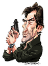 Cartoon: Timothy Dalton (small) by Ian Baker tagged timothy dalton james bond 007 spy film caricature hero gun eighties