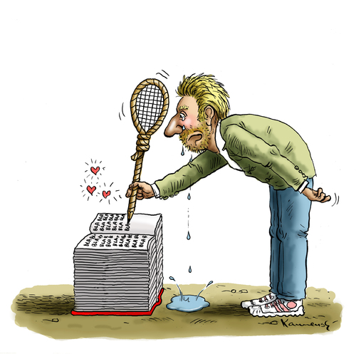 Cartoon: Bobeles Abschiedsliebesbuch (medium) by marian kamensky tagged boris,becker,tennis,boris,becker,tennis,penis
