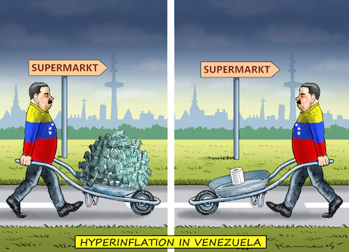 Cartoon: HYPERINFLATION IN VENEZUELA (medium) by marian kamensky tagged venezuela,maduro,trump,putin,revolution,oil,industry,socialism,venezuela,maduro,trump,putin,revolution,oil,industry,socialism