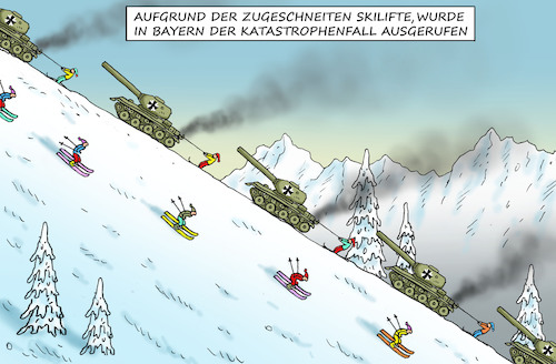 Cartoon: KATASTROPHENFALL IN BAYERN (medium) by marian kamensky tagged katastrophenfall,in,bayern,schneechaos,skitourismus,bundeswehr,katastrophenfall,in,bayern,schneechaos,skitourismus,bundeswehr