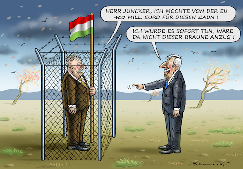 Cartoon: ORBAN WILL ZAUNGELD (medium) by marian kamensky tagged orban,will,zaungeld,juncker,ungarn,nationalismus,populismus,orban,will,zaungeld,juncker,ungarn,nationalismus,populismus