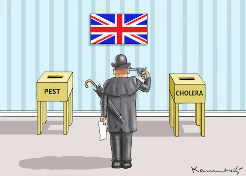 Cartoon: PEST ODER CHOLERA ? 2 (medium) by marian kamensky tagged brexit,theresa,may,england,eu,schottland,weicher,wahlen,boris,johnson,nigel,farage,ostern,seidenstrasse,xi,jinping,referendum,trump,monsanto,bayer,glyphosa,strafzölle,corbyn,brexit,theresa,may,england,eu,schottland,weicher,wahlen,boris,johnson,nigel,farage,ostern,seidenstrasse,xi,jinping,referendum,trump,monsanto,bayer,glyphosa,strafzölle,corbyn