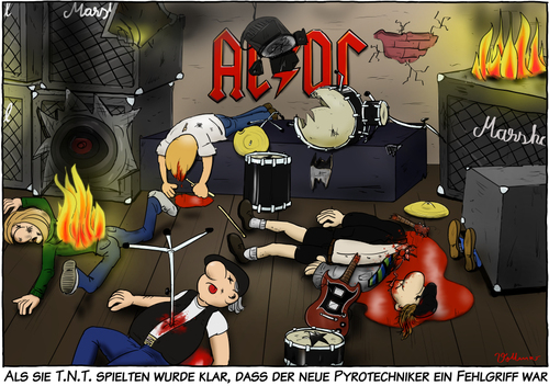 Cartoon: T.N.T. (medium) by Andreas Vollmar tagged tnt,ac,dc,musik,rock,unfall,pyrotechnik,explosion,feuer,angus,young,bühne,auftritt,konzert