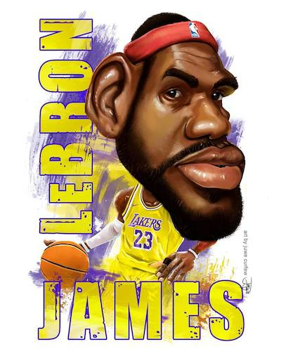 Cartoon: lebron james (medium) by juwecurfew tagged nba,lakers,heat,miami,basketball,lebron,king,james,cavs