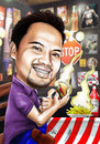 Cartoon: caricature on TGIFriday (small) by juwecurfew tagged friday,caricature,burger,fries,heinz