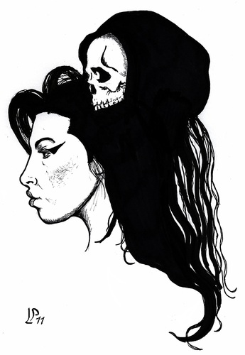 Cartoon: Amy and Death (medium) by paolo lombardi tagged winehouse,amy