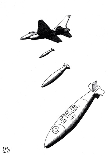Cartoon: Smart bomb in Libya (medium) by paolo lombardi tagged peace,krieg,war,gaddafi,libya