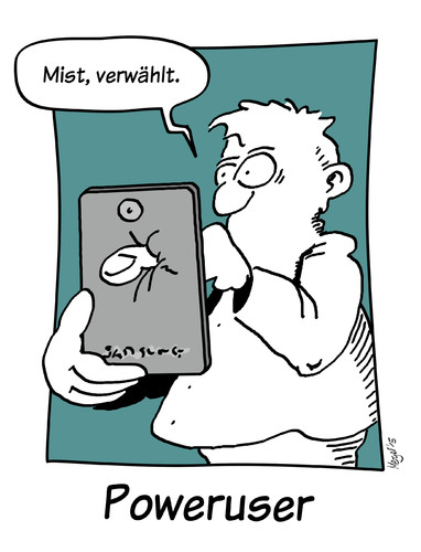 Cartoon: poweruser (medium) by Mergel tagged handy,multimedia,telefon,touchscreen,verwählt,smartphone