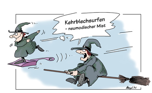 Cartoon: trendsport (medium) by Mergel tagged trendsport,surfen,hexen,besen,kehrblech,tradition,neumodisch,veränderung,hype