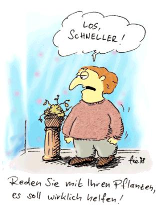 Cartoon: Mit den Blumen reden (medium) by fussel tagged blumen,reden,wachsen